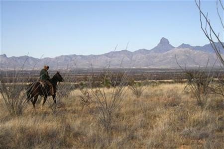 U.S. Border Patrol supervisory agent Bobbi Schad tracks illegal immigrants from Mexico on horseback through the wilds of the Altar Valley, Arizona January 9, 2008. REUTERS/Tim Gaynor