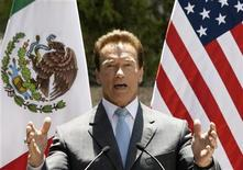 <p>California Governor Arnold Schwarzenegger speaks after meeting with border governors from U.S. and Mexican states at the official residence Los Pinos in Mexico City, May 29, 2008. REUTERS/Daniel Aguilar</p>