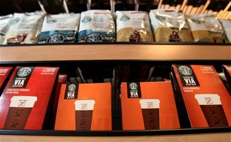 Starbucks' new Via instant coffee product is seen on display at their corporate headquarters in Seattle, Washington July 15, 2010. REUTERS/Anthony Bolante