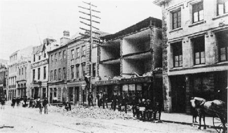 A view of damage caused by the historic Charleston earthquake of 1886. Picture taken on the south side of Broad Street. REUTERS/USGS