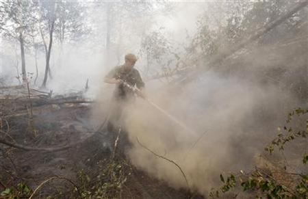 A firefighter works to extinguish fire and prevent new ignitions in a forest outside the town of Elektrogorsk, east of the capital Moscow, August 3, 2010. REUTERS/Denis Sinyakov