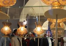 <p>Egypt's Minister of Culture Farouk Hosni (R) looks at Islamic ornaments during a private tour of the newly reconstructed Egyptian Islamic Museum before its reopening to the public in Old Cairo, August 4, 2010. REUTERS/Asmaa Waguih</p>