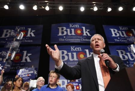 Republican Senate candidate Ken Buck gives his acceptance speech to supporters at an election night party in Loveland, Colorado after he defeated Jane Norton in the Republican primary election August 10, 2010. REUTERS/Rick Wilking
