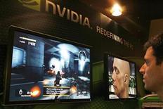 <p>Foto de archivo de un juego de computadora presentado en el panel de la compañía Nvidia durante una feria de tecnología en Taipeí, China, jun 6 2007. El fabricante de microprocesadores gráficos Nvidia Corp reportó un aumento de sus pérdidas en el segundo trimestre, y ofreció previsiones de ventas más débiles de las esperadas. REUTERS/ Nir Elias</p>