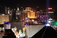 "<p>Lights on the Las Vegas Strip are viewed looking northbound from the Mandalay Bay Resort just before ""Earth Hour"" in Las Vegas, Nevada March 28, 2009. REUTERS/Steve Marcus</p>"