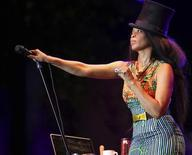 "<p>Erykah Badu performs during ""World Music Night"" at the Tobago Jazz Experience in Pigeon Point on April 24, 2010. REUTERS/Andrea De Silva</p>"