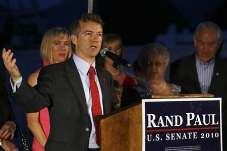 Rand Paul gives his victory speech after winning the Senate Republican primary election in Bowling Green, Kentucky, at Bowling Green Country Club May 18, 2010. REUTERS/Jake Stevens