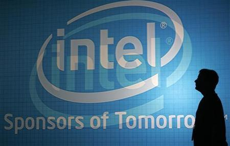 A man walks past an Intel wall at the 2009 Computex trade show in Taipei June 3, 2009.REUTERS/Pichi Chuang