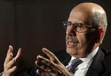 <p>ElBaradei reacts during an interview with Reutes in Vienna's U.N. headquarters November 25, 2009. REUTERS/Herwig Prammer</p>