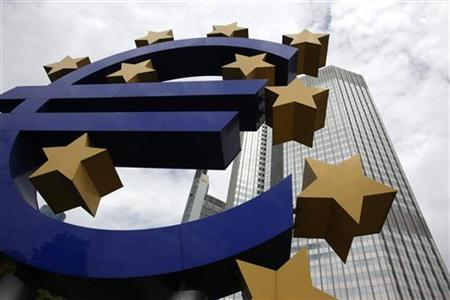 A huge euro logo stands in front of the headquarters of the European Central Bank (ECB) in Frankfurt June 10, 2010. REUTERS/Ralph Orlowski