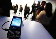 <p>The new BlackBerry Torch 9800 smartphone is seen after it was introduced at a news conference in New York August 3, 2010. REUTERS/Shannon Stapleton</p>
