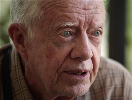 Former President Jimmy Carter speaks during an interview with Reuters in Juba, south Sudan in this April 13, 2010 file photo. REUTERS/Goran Tomasevic