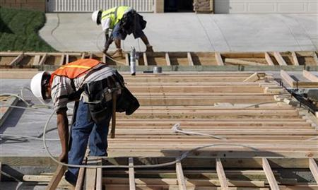 Workers put together the frame of a home under construction in Lancaster, California March 22, 2010. REUTERS/Mario Anzuoni