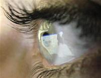 <p>Домашняя страница Google отражается на роговице глаза человека в Лестере, центральная Англия, 20 июля 2007 года. Ученые из Канады и Швеции использовали выращенные в лаборатории роговицы глаз для восстановления зрения нескольким пациентам. REUTERS/Darren Staples/Files</p>