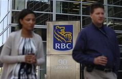 <p>People walk past a Royal Bank of Canada branch in Ottawa August 27, 2009. REUTERS/Chris Wattie</p>