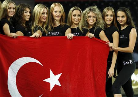 Cheerleaders pose with Turkey's national flag during a rehearsal in Ankara September 1, 2010. The absence of scantily clad female cheerleaders at recent World Championship basketball matches involving host nation Turkey has raised eyebrows in the overwhelmingly Muslim but officially secular nation. Troupes of energetic cheerleaders have entertained the crowds at matches involving other teams in the tournament, but no dancers appeared during Turkey's match against Greece on Tuesday nor their match against Russia on Sunday. REUTERS/Umit Bektas