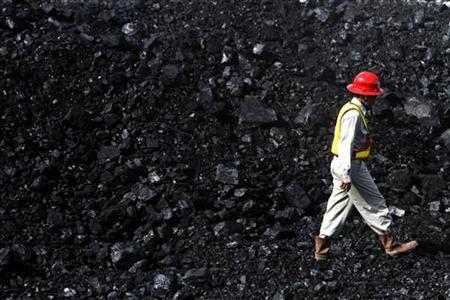 A worker walks through a coal pile at a mining site in Berau at the Indonesia's East Kalimantan province August 12, 2010. REUTERS/Yusuf Ahmad