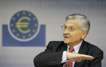 Jean-Claude Trichet, President of the European Central Bank (ECB) addresses the media during his monthly news confrence at the ECB headquarter in Frankfurt in this August 5, 2010 file photo. REUTERS/Alex Domanski