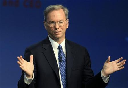Google CEO Eric Schmidt delivers a speech at the Internationale Funkausstellung (IFA) consumer electronics fair in Berlin, September 7, 2010. REUTERS/Thomas Peter