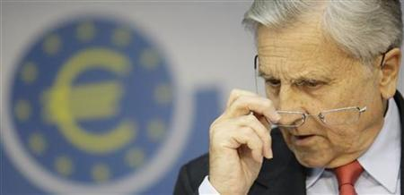 Jean-Claude Trichet, President of the European Central Bank (ECB) addresses the media during his monthly news confrence at the ECB headquarter in Frankfurt, August 5, 2010. REUTERS/Alex Domanski