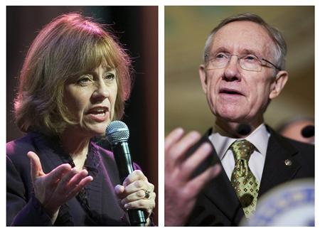 Republican candidate Sharron Angle (L), and U.S. Senate Majority Leader Harry Reid (D-NV) are shown in this combination of file photos September 14, 2010. Reid is fighting for his political life in a close race for his Senate seat in Nevada in November 2 congressional elections, a Reuters/Ipsos poll showed on Tuesday. REUTERS/Files