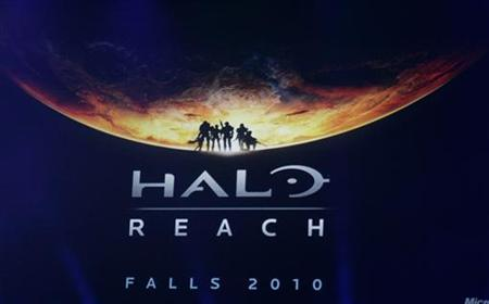 A preview scene from the new game Halo Reach in distribution during Fall 2010 is shown on screen during the Microsoft XBox 360 E3 2009 media briefing in Los Angeles June 1,2009. REUTERS/Fred Prouser