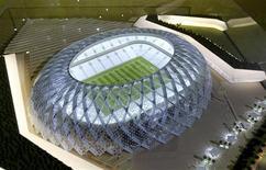 <p>Catar apresenta modelo do estádio Al-Wakrah, que será construído caso o país seja escolhido sede da Copa do Mundo de 2022. REUTERS/Divulgação</p>