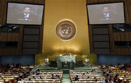 Vietnam's President Nguyen Minh Triet (C) speaks during the Millennium Development Goals Summit at United Nations headquarters in New York, September 20, 2010.REUTERS/Chip East