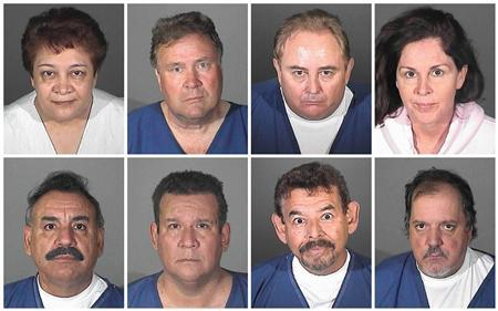 The mugshots of the eight current and former Bell city officials (top L-R) Teresa Jacobo, George Cole, Robert Rizzo, Angela Spaccia, (bottom L-R) Oscar Hernandez, Luis Artiga, George Mirabal and Victor Bello, who were arrested by the Los Angeles County District Attorney's Office, is seen in this combination photo September 21, 2010. The mayor, former city manager and most of the city council in a Los Angeles suburb were arrested on Tuesday and charged with misappropriating $5.5 million in public funds in what a prosecutor said amounted to treating the city's coffers like ''their own piggy bank.'' REUTERS/Los Angeles County Sheriff 's Department/Handout