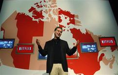 <p>Netflix Chief Executive Officer Reed Hastings speaks during the launch of streaming internet subscription service for movies and TV shows to TVs and computers in Canada at a news conference in Toronto, September 22, 2010. REUTERS/ Mike Cassese</p>