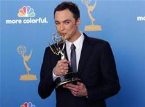 "<p>Jim Parsons, winner for outstanding lead actor in a comedy series as Sheldon Cooper in ""The Big Bang Theory,"" poses with his award backstage at the 62nd annual Primetime Emmy Awards in Los Angeles, California, August 29, 2010. REUTERS/Danny Moloshok</p>"