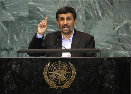 Iran's President Mahmoud Ahmadinejad gestures as he addresses the 65th United Nations General Assembly at U.N. headquarters in New York, September 23, 2010. REUTERS/Mike Segar
