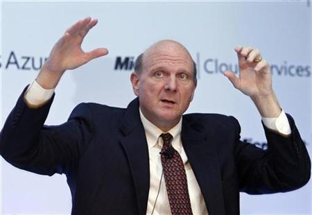 Microsoft's Chief Executive Steve Ballmer speaks during a news conference in New Delhi May 27, 2010. REUTERS/B Mathur