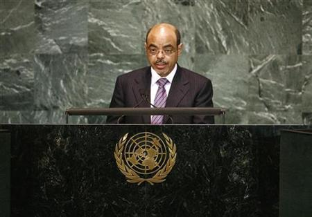 Ethiopian Prime Minister Meles Zenawi delivers his speech during the Millennium Development Goals Summit at U.N. headquarters in New York, September 21, 2010. REUTERS/Mike Segar