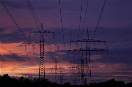 High voltage power lines are seen as the sun sets near the Staudinger coal power plant of German E.on energy company in Grosskrotzenburg, 30 km (18 miles) south of Frankfurt, September 25, 2010. REUTERS/Kai Pfaffenbach