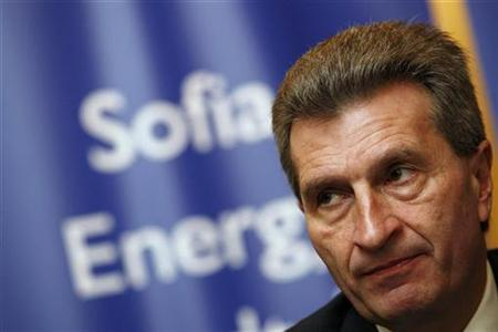 European Energy Commissioner Guenther Oettinger attends a news conference during the Black Sea Energy and Economic Forum in Sofia in this March 2, 2010 file photo. REUTERS/Stoyan Nenov