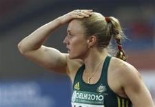 <p>Australiana Sally Pearson foi desclassificada após vencer a prova dos 100 metros rasos por ter queimado a largada durante os Jogos da Commonwealth, em Nova Délhi. REUTERS/Suzanne Plunkett</p>