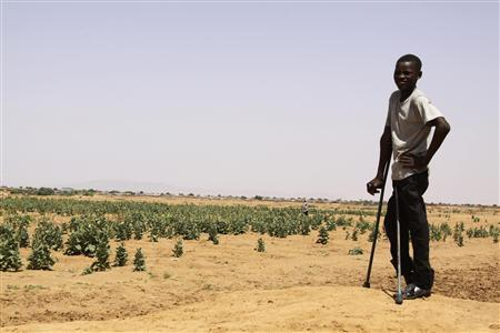 A Sudanese refugee on crutches watches as members of the U.N. Security Council meet with elders from the Abu Shouk and Al Salam camps for internally displaced persons in Sudan's western Darfur region, outside El Fasher in North Darfur state October 8, 2010. REUTERS/Louis Charbonneau