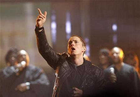 Rapper Eminem performs 'Not Afraid' at the 2010 BET Awards in Los Angeles, June 27, 2010. REUTERS/Mario Anzuoni