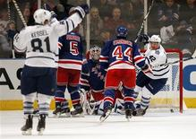 <p>Toronto Maple Leafs' Phil Kessel (81) celebrates after he scored in overtime against the New York Rangers in their NHL game in New York, October 15, 2010. The Maple Leafs won the game 4-3. At right is Maple Leafs' Tyler Bozak (42) and in center are Rangers' Dan Girardi (5), Henrik Lundqvist (C) and Steve Eminger. REUTERS/Mike Segar</p>