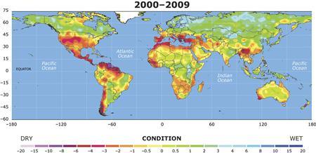 Handout image of a map showing the drought conditions between 2000 and 2009 for a study by National Center for Atmospheric Research (NCAR) scientist Aiguo Dai, released October 19, 2010. REUTERS/University Corporation for Atmospheric Research/Handout