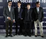 "<p>Actors Justin Timberlake (L), Andrew Garfield and Jesse Eisenberg (2nd R) and writer Aaron Sorkin (R) pose during a photocall to promote the movie ""The Social Network"" in Madrid, October 6, 2010. REUTERS/Andrea Comas</p>"