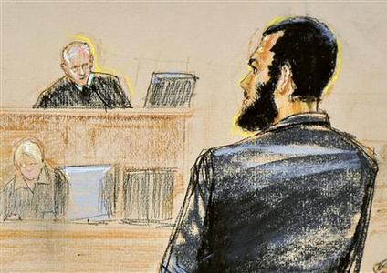 A courtroom sketch shows Defendant Omar Khadr (R), a native of Toronto, Canada, pleading guilty under oath to all five terrorism charges against him in a U.S. war crimes tribunal standing before military commission Judge Colonel Patrick Parrish (L) at the Guantanamo Bay Naval Base in Cuba, October 25, 2010. REUTERS/Janet Hamlin/Pool