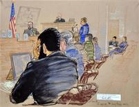 <p>A courtroom sketch shows defendant Omar Khadr (L), a native of Toronto, Canada, holding his head in his hands in front of military commission Judge Colonel Patrick Parrish at the Guantanamo Bay Naval Base in Cuba in this October 26, 2010 file photo. REUTERS/Janet Hamlin/Pool</p>