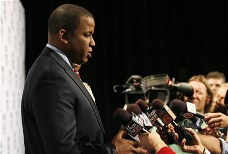 Senatorial candidate, U.S. Representative Kendrick Meek (D), answers a question during a news conference after a televised debate at Univision Studios in Miami, Florida September 17, 2010. REUTERS/Hans Deryk
