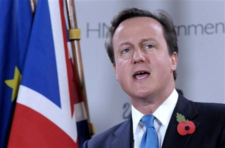 Prime Minister David Cameron holds a news conference at the end of a two-day Summit of the European Union Heads of States and Governments October 29, 2010. REUTERS/Eric Vidal