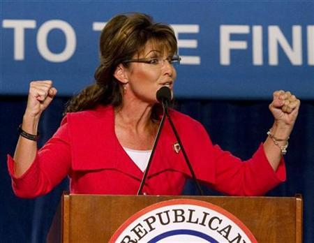 Former Alaska governor Sarah Palin speaks during the Republican 2010 Victory Fundraising Rally in Orlando, Florida October 23, 2010. REUTERS/Scott Audette