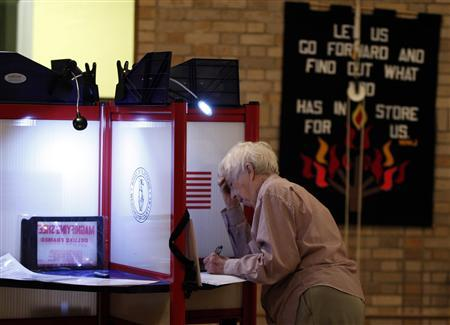 A Maryknoll Sister votes at a polling station inside the Maryknoll Sisters auditorium in Ossining, New York November 2, 2010. REUTERS/Jessica Rinaldi