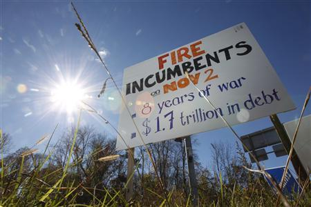 A road sign urges voters to ''Fire Incumbents'' in Sleepy Hollow, New York November 2, 2010. REUTERS/Jessica Rinaldi