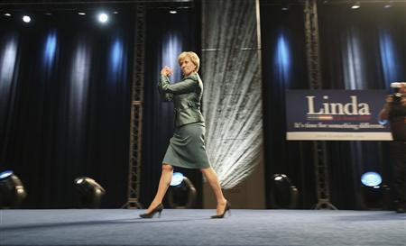 Senate Republican candidate Linda McMahon of Connecticut walks on stage to deliver her concession speech after Democratic state attorney general Richard Blumenthal defeated her, during her election night rally in Hartford, Connecticut, November 2, 2010. REUTERS/Michelle McLoughlin